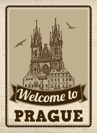 Welcome to Prague in vintage style poster, vector illustration Vector