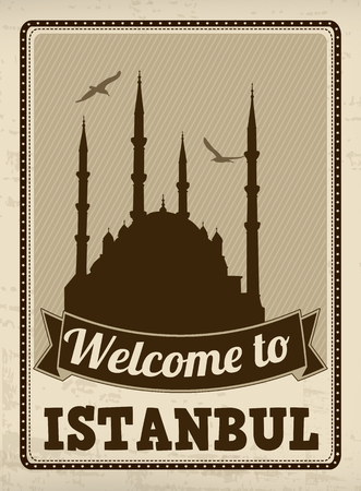 europe cities: Welcome to Istanbul in vintage style poster, vector illustration