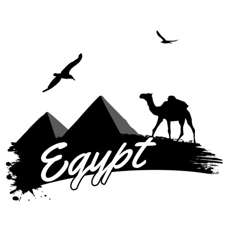 cheops: Egypt in vintage style poster, vector illustration