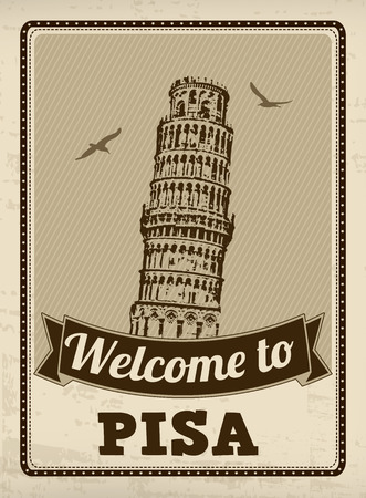 Welcome to Pisa in vintage style poster, vector illustration Vector