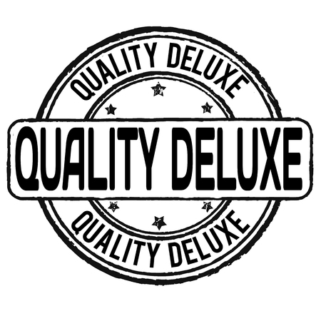 deluxe: Quality deluxe grunge rubber stamp on white, vector illustration