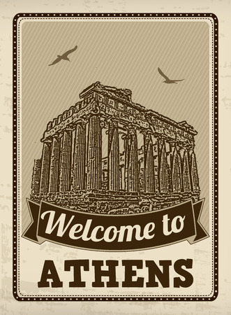 athens: Welcome to Athens in vintage style poster, vector illustration