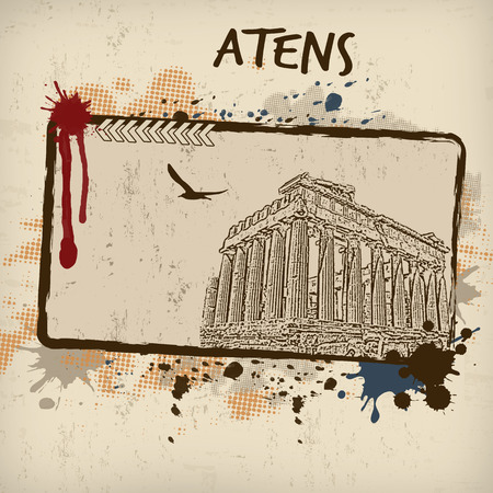 Parthenon from Athens in vitage style poster, vector illustration Vector