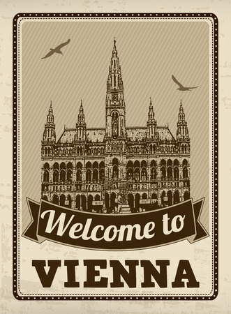 great hall: Welcome to Vienna in vintage style poster, vector illustration Illustration