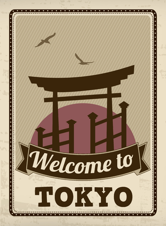 Welcome to Tokyo in vintage style poster, vector illustration Vector