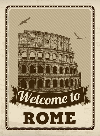 Welcome to Rome in vintage style poster, vector illustration Vector