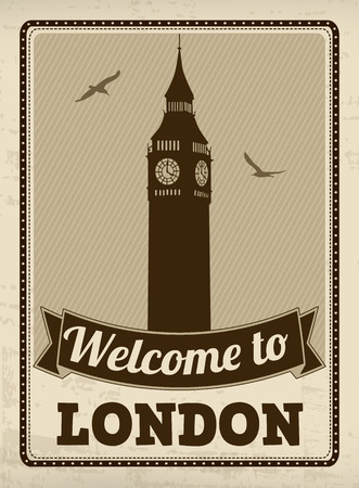 Welcome to London in vintage style poster, vector illustration Vector