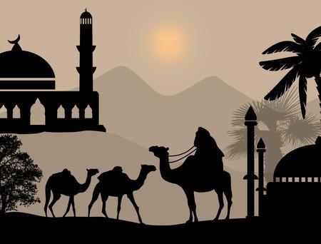 convoy: Bedouin carovana di cammelli nel paesaggio selvaggio africa sul tramonto, illustrazione vettoriale