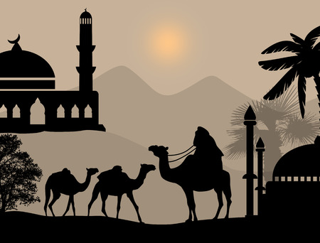 Bedouin camel caravan in wild africa landscape on sunset, vector illustration