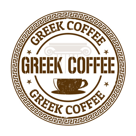 Greek coffee grunge rubber stamp on white, vector illustration Vector