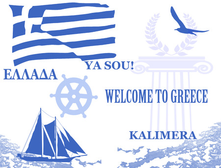 Travel poster with symbols and flag of Greece, vector illustration