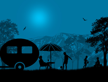 Familie camping op mooie camping in blauwe nacht, vector illustration Stock Illustratie