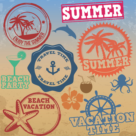 Set of summer vacation stamps on retro background, vector illustration Vector