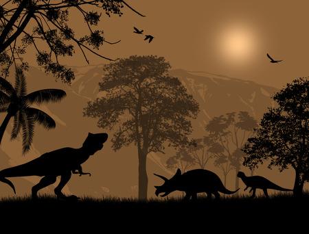 mesozoic: Dinosaurs silhouettes in beautiful landscape at night, vector illustration Illustration