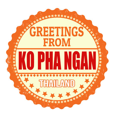 ko: Label or rubber stamp with text Greetings from Ko Pha Ngan on white, vector illustration