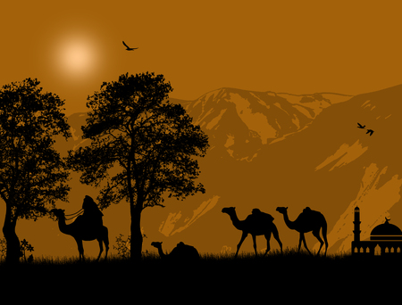 Abstract colorful background with bedouin riding camel, vector illustration Vector