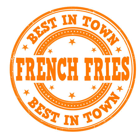 French Fries grunge rubber stamp on white, vector illustration Vector
