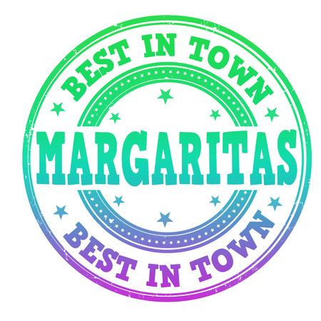 poolside: Margaritas grunge rubber stamp on white, vector illustration