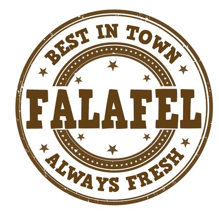 Falafel  grunge rubber stamp on white, vector illustration