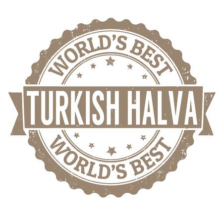 turkish dessert: Halva grunge rubber stamp on white, vector illustration Illustration