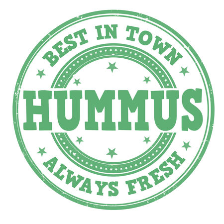 middle eastern: Hummus grunge rubber stamp on white, vector illustration
