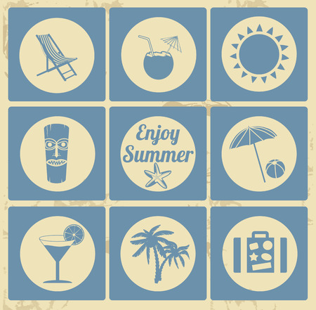 beach bar: Holidays icon set on vintage background, vector illustration