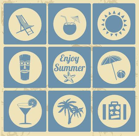 Vakantie icon set op vintage achtergrond, vector illustratie