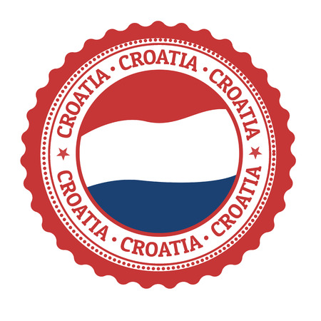 croatia flag: Stamp or label with Croatia Flag and the word Croatia written inside, vector illustration