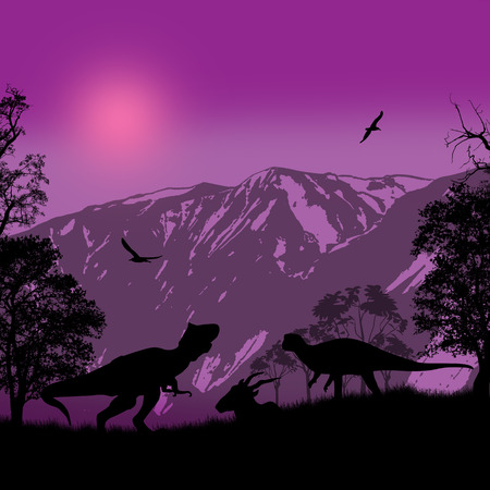 lila: Dinosaurs silhouettes in beautiful landscape at lila night, vector illustration