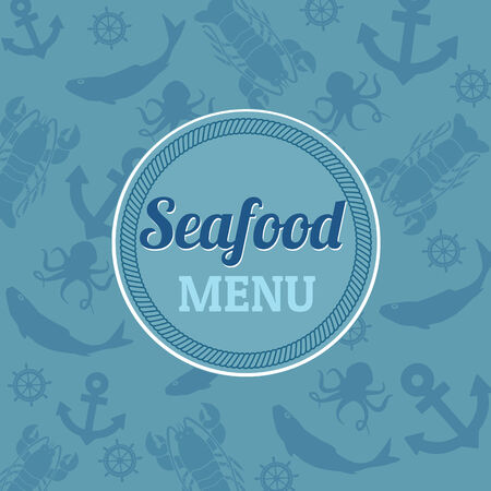 Seafood menu with marine pattern, vector illustration Vector