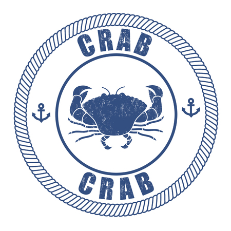 Crab grunge rubber stamp on white, vector illustration Vector