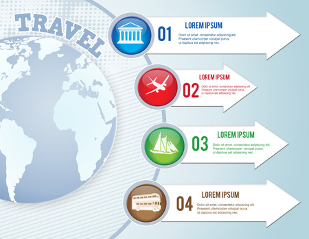 Travel infographics web design. Modern paper template, vector illustration Vector