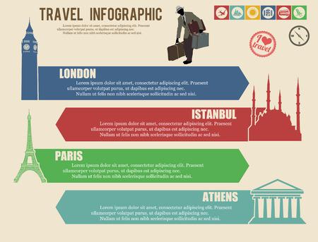 Travel infographics web design.Vintage paper template, vector illustration Vector