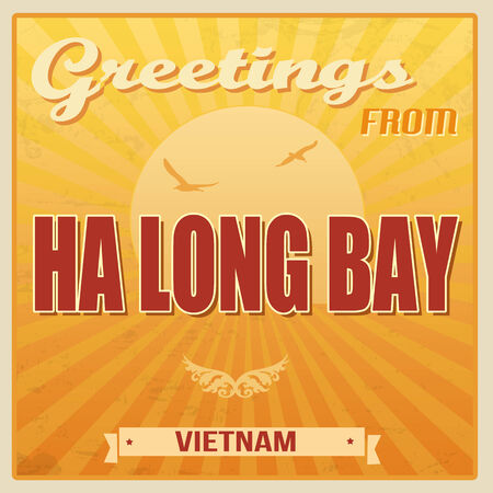 ha: Vintage Touristic Greeting Card - Ha Long Bay, Vietnam, vector illustration