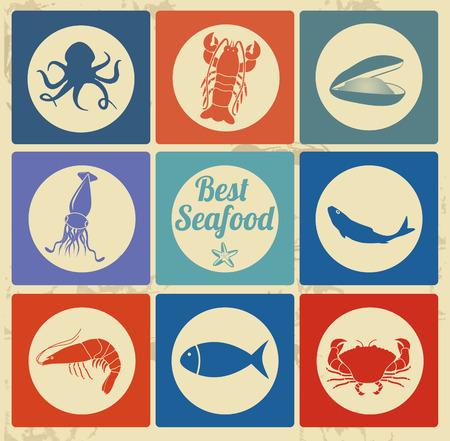 calamar: El mejor icono de mariscos situado en el fondo vintage, ilustración vectorial