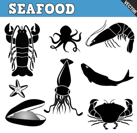 Seafood icons set on white background, vector illustration Vector