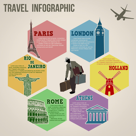 Travel info graphics web design.Vintage paper template, vector illustration Vector