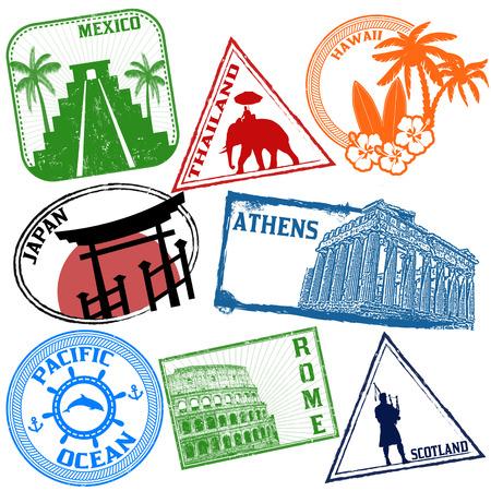 estampilla: Conjunto de sellos de viajes grunge estilizada en blanco, ilustraci�n vectorial