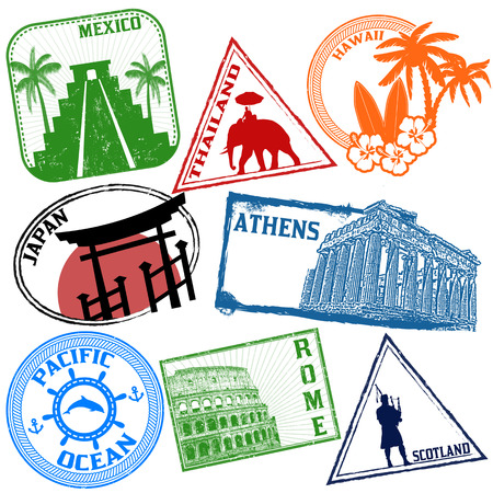 passport: Set of stylized grunge travel stamps on white, vector illustration