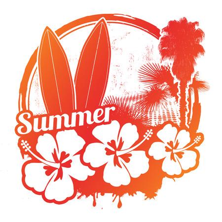 vertigo: Surf stamp with grunge summer background, vector illustration
