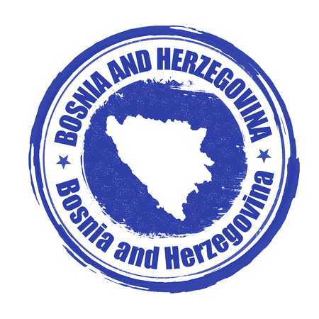 herzegovina: Grunge rubber stamp with the name and map of Bosnia and Herzegovina, vector illustration