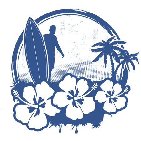 Surf stamp with grunge summer background, vector illustration