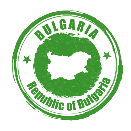 identifier: Grunge rubber stamp with the name and map of Bulgaria, vector illustration Illustration