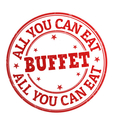 tu puedes: All you can eat buffet grunge sello de goma en blanco, ilustraci�n vectorial