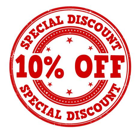 Sconto speciale del 10% di sconto grunge timbro di gomma su bianco, illustrazione vettoriale