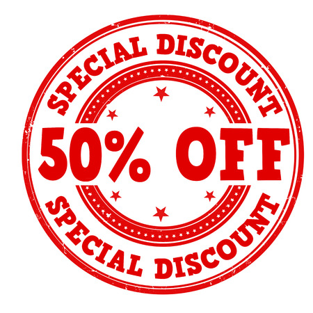 special service: Special discount 50% off grunge rubber stamp on white, vector illustration