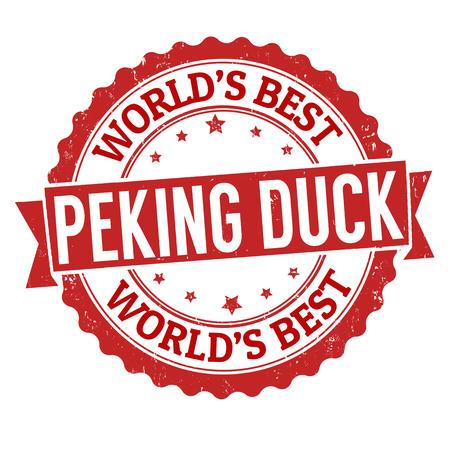 peking: Peking duck grunge rubber stamp on white, vector illustration