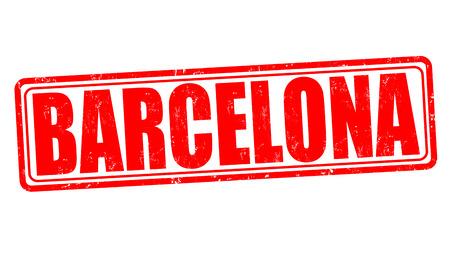 Barcelona grunge rubber stamp on white, vector illustration