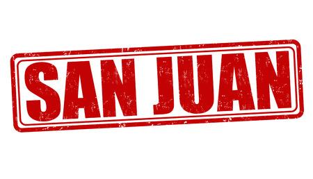 bandera de puerto rico: San Juan grunge sello de goma en blanco, ilustración vectorial