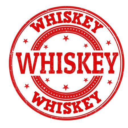 whisky: Whiskey grunge rubber stamp on white, vector illustration